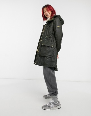 Barbour Vonn Wax parka coat in fern