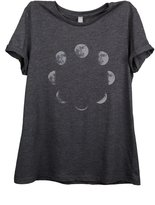 Thread Tank Moon Phases Women Relaxed T-Shirt Tee Charcoal Grey