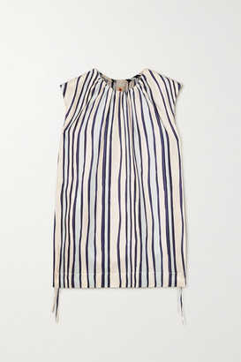 Marni Ruched Striped Silk-twill Top - Ivory