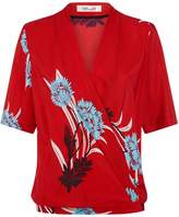 Diane von Furstenberg Cross-Over Printed Silk Blouse