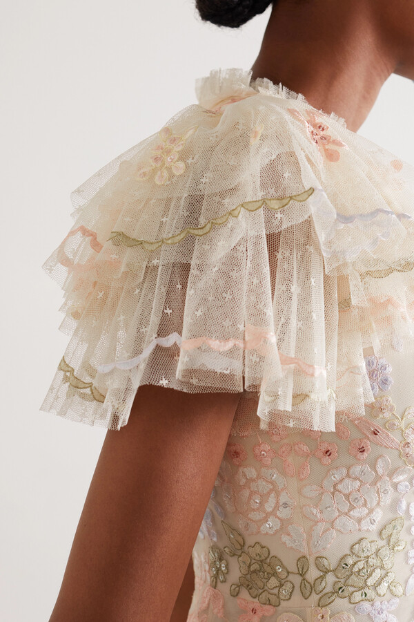 Thumbnail for your product : Needle & Thread Elin Blossom Sequin-embellished Embroidered Tulle Midi Dress - Pink