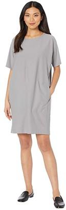 Eileen Fisher Round Neck Short Sleeve Dress (Zinc) Women's Dress
