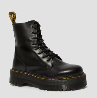 Dr. Martens Black Polished Smooth Leather Jadon Platform Boots - black   37 - Black/Black