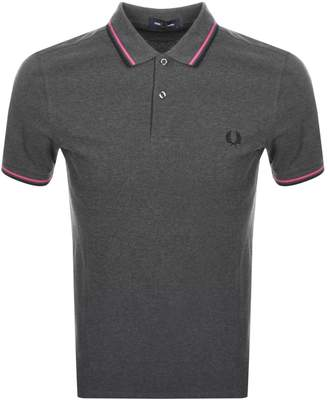 Fred Perry Twin Tipped Polo T Shirt Grey