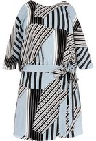 River Island Womens Blue stripe tie waist cold shoulder playsuit