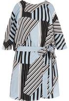 River Island Womens Blue stripe tie waist cold shoulder romper