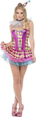 Fever Smiffys Women's Neon Harlequin Clown Costume Tutu Dress Neck Ruffle and Hat Funny Side Serious Fun Size 2-4 41041