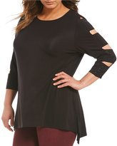 Peter Nygard Plus Embellished Cold Shoulder Tunic