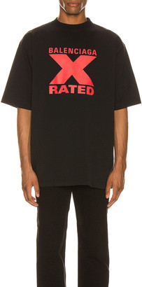 Balenciaga Short Sleeve Large Fit in Black/Red | FWRD