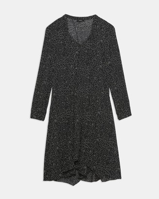 Theory Draped Tie Neck Dress in Speckled Silk