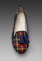 Charles Philip Shanghai Lana Wool Plaid Flat with Tassel