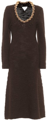 Bottega Veneta Chain-trimmed wool-blend midi dress