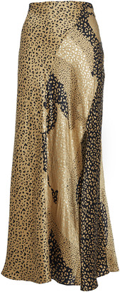 Rixo Parker Metallic Leopard Slip Skirt