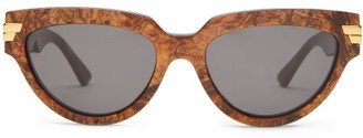 Bottega Veneta Cat-eye Marbled-acetate Sunglasses - Brown
