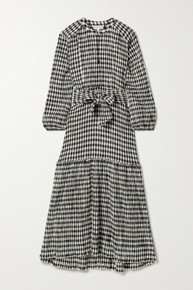 Apiece Apart Andreas Belted Gingham Organic Cotton-blend Seersucker Midi Dress - Black