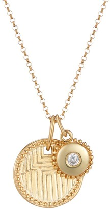 One And One Studio Gold Hand Engraved Aztec Disc Pendant & Jewel Charm Necklace On Chain
