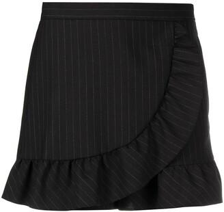 RED Valentino Ruffle-Detail Pinstripe Shorts