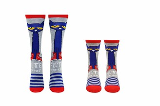 Everything Legwear Pete the Cat Socks (Adult & Youth) (2 Pair) - Pete Cat Gifts Crew Socks - Fits Shoe Size: 4-10 (Ladies) & 9-3 (Kids)