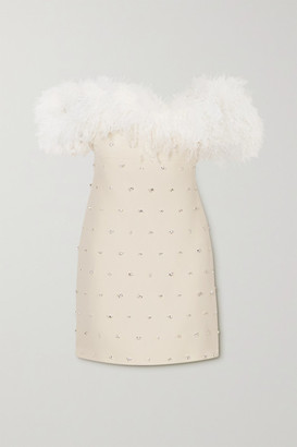 Miu Miu Off-the-shoulder Feather-trimmed Embellished Wool And Silk-blend Mini Dress - Off-white