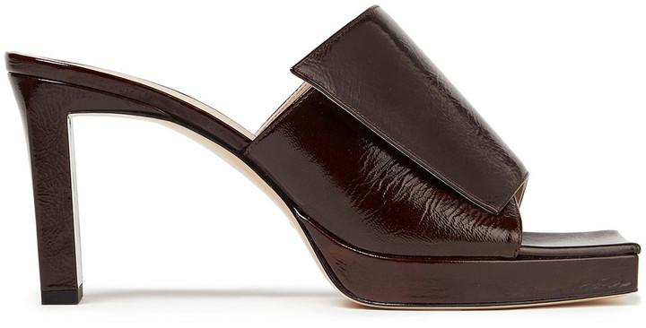 Wandler Isa Crinkled Patent-leather Platform Mules
