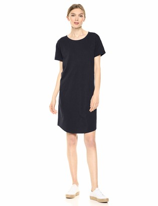 Daily Ritual Amazon Brand Women's Lived-in Cotton Roll-Sleeve Crewneck T-Shirt Dress