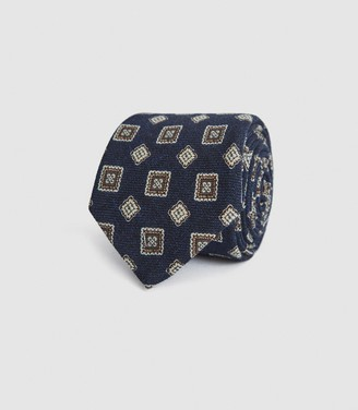 Reiss AREZZO WOOL MEDALLION TIE Navy