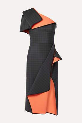Maticevski Aquatic Draped One-shoulder Checked Ponte Dress - Black