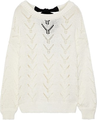 Charli Tea Tie-back Pointelle-knit Cotton-blend Sweater