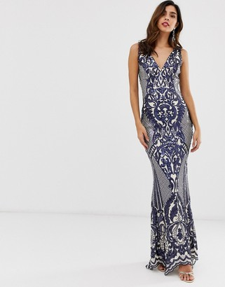 City Goddess all over embellished patterned maxi dress