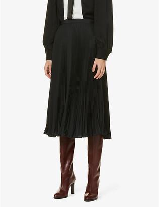 Ports 1961 High-waisted pleated satin midi skirt