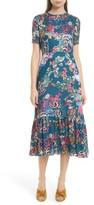 Saloni Women's Lorna Print Ruffle Hem Midi Dress