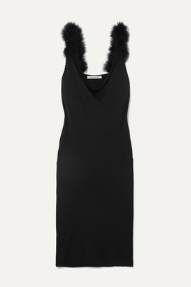 Sleeper Feather-trimmed Draped Crepe Midi Dress - Black