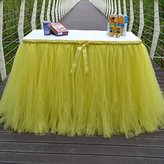 Lanue Handmade Tutu Tulle Princess Wedding Prop Birthday Prom Party Baby Shower Table Skirts Table Cloth with a Bow (Yellow)