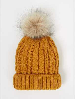 Bobble George Mustard Cable Knit Hat