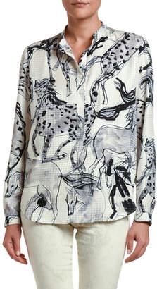 Stella McCartney Horse Print Silk Button-Front Shirt