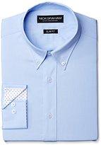 Nick Graham Men's Solid Cotton Poplin Dress Shirt- Slim Fit- Button Down Collar