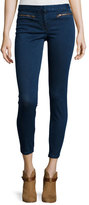 Veronica Beard Zip-Pocket Denim Trousers, Medium Blue