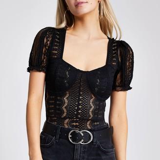 River Island Womens Petite Black lace short sleeve bodysuit