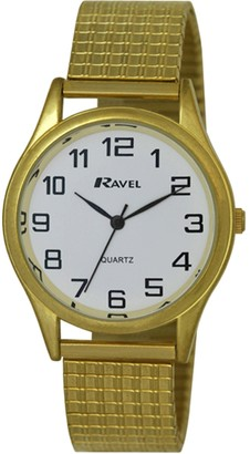 Ravel Easy Read Watch on Expandable Men's Quartz Watch with Gold Dial Analogue Display and Gold Stainless Steel Gold Plated Bracelet R0301071S