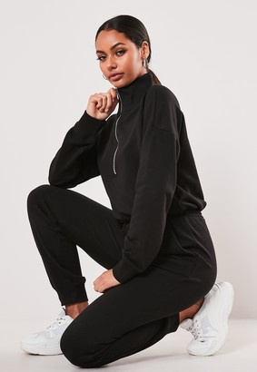 Missguided Tall Black Drop Shoulder Zip Front Jumpsuit