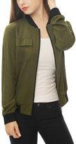 Allegra K Women's Multi-Pocket Zip Fastening Front Bomber Jacket L