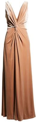 Halston Kinsey V-Neck Knot-Front Velvet Gown