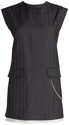 Acne Studios Pinstripe Wool Chain Mini Dress
