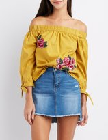 Charlotte Russe Floral Patch Off-The-Shoulder Top