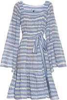 Lisa Marie Fernandez Square-neck striped cotton-blend dress