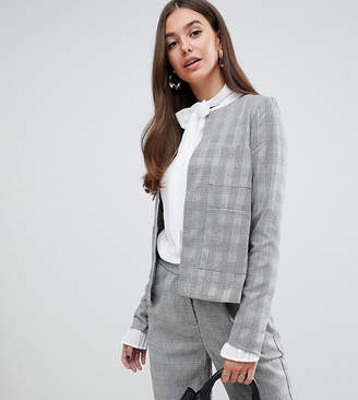 Y.A.S Tall Jekky collarless check blazer-Grey