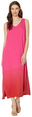 Tribal Dip-Dye Maxi Dress (Hot Pink) Women's Clothing