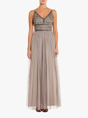 Adrianna Papell Beaded Bodice Maxi Dress, Platinum