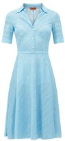 Missoni Open-collar Zigzag Jacquard Satin Dress - Womens - Light Blue