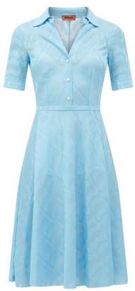 Missoni Open-collar Zigzag Jacquard Satin Dress - Light Blue